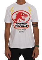 NEW $110 FRANKIE MORELLO T-shirt White Cotton Dinosaur Short Sleeve Top s. L