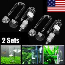 2 Set Fish Tank Aquarium Plants CO2 Diffuser Check Valve U Shape Glass Tube US