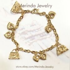 18k Solid Yellow Gold Cute Mix Charms Bracelet, 6.5 Inches. 7 Grams