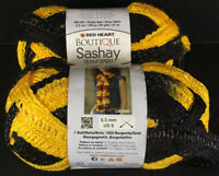 2 Red Heart Boutique Sashay Team Spirit Yarn - Gold/Black #1911 - FREE SHIPPING