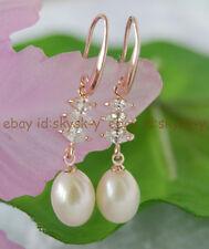 Wedding AAA 9-11mm White Akoya Pearl charming dangle 18K gold on silver earrings