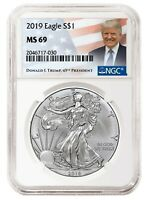 2019 1oz Silver Eagle NGC MS69 - Donald Trump Label