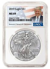 2019 1oz Silver  00004000 Eagle Ngc Ms69 - Donald Trump Label