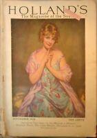 Vintage 1928Holland Magazine Arthur Garrett Art Beautiful Lady Cover & many ads