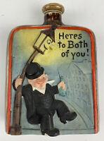 Vtg 1930's Schafer & Vater flask Hand paint Porcelain Drunk At Street Lamp Post