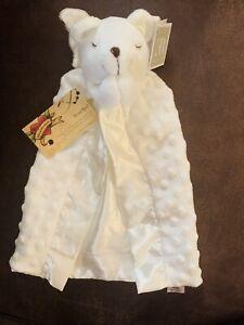 Elegant Baby Bear Security Blanket White Angel Pray Wings Embossed Dots Gown