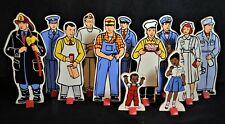 Vintage Wood Paper Dolls on Stands, Teach, School, Learn, Community Members