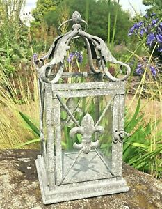 Vintage Look French Style Glass And Metal Lantern Candle Holder