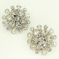 VINTAGE Large Clear RHINESTONE Burst Statement CLIP ON EARRINGS Silvertone Bride
