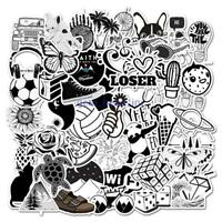 50 Pcs Black and white Cartoon Laptop Suitcase waterproof Sticker Notebook Decal
