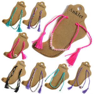 2 X Kinder Fußkette Einstellbar Perlen Schnur Strand Armband Festival Schmuck