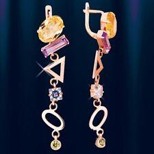 Ohrringe mit Edelsteinen Russische Rose Gold 585 Amethyst Topas Citrin 💖💖💖💖