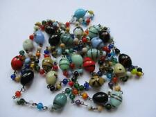 Vtg Mid Century Italian Art Glass End of Day Multi Color Bead Strand Necklace