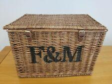Fortnum and Mason Very Large Wicker Hamper / Basket F&M; Picnic, Storage