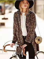 $298 New Free People Channeling Leopard Coat Jacket Brown Animal Print Faux Fur