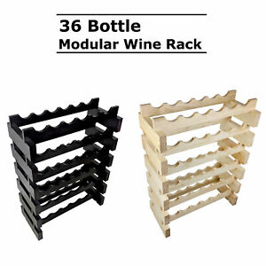 Modular Stackable Wooden 36 Bottle Wine Rack Timber Cellar Storage Stand Wood