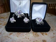 925 Silver floral set w/Amethyst Pendant Ring dangle Earrings Necklace 31.08 gr