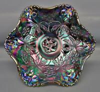 Modern Fenton CAROLINA DOGWOOD Amethyst Carnival Glass Ruffled Bowl 6641