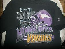 Minnesota Vikings Football NFL Black Short Sleeve T-Shirt Size Large Made in USA