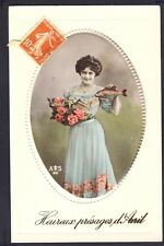 Carte Postale Ecrite en 1913 en Relief HEUREUX PRÉSAGES d'AVRIL Poissons Fish