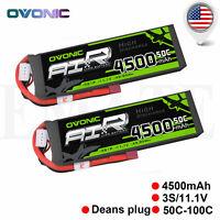 2 Packs OVONIC 4500mAh 3S 11.1V 50C RC Lipo Battery Deans Plug for RC Car Heli