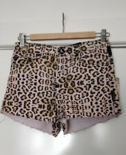One Teaspon Desert Cat Romeos Denim Shorts RRP$120 - size 24 (6) - leopard print