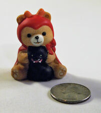 Rare Russ Berrie Miniature Halloween Devil Teddy Bear Vampire Black Cat Figurine