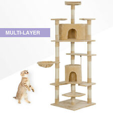 "78"" Pet Cat Tree Play House Tower Condo Scratch Post Pet House Furniture Beige"