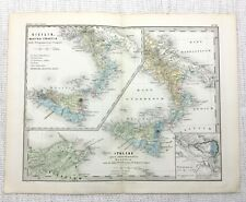 1865 Antique Map of Italy Sicily Ancient Imperial Roman Empire LATIN Engraving