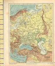 MAPPA c1889 ~ Russia & Romania fisico ~ Finlandia Caucasia del Volga