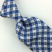 Tom Ford Tie Knit/Weaved Plaid Checkered Blue Silver Necktie Luxe Silk L4 New