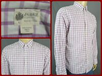 J Crew Lavender Purple and White Check Pattern Mens Dress Casual Shirt Large