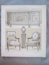 Vintage Print,FRANCE,MOBILIER EPOQUE LOUIS XVI,Costume,Historique,1888,Racinet