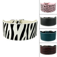 "Brand 3"" Width Plain PU Leather Dog Pet Collars Necklace Protect Neck Heavy Duty"