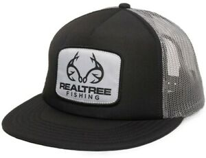 Realtree Fishing Woven Label Scout Patch Mesh-Back Black / Grey Hunting Cap