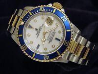 Mens Rolex Submariner 18K Yellow Gold Stainless Steel MOP Diamond Serti Blue Sub