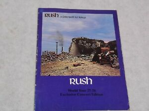 RUSH TOUR PROGRAMME AND MANAGEMENT BAND PHOTO