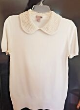 H&M Ladies White Beaded Short Sleeve Blouse Shirt Jumper Top Jumper  Size EU 42