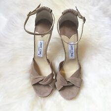 Jimmy Choo Women's Tan Suede Marion Ankle Strap Heels Size 41