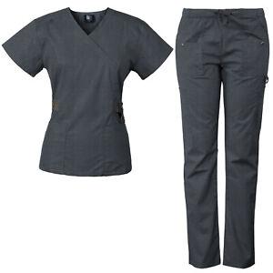 Medgear Women's 12-Pocket Scrub Set with Silver Snap Detail - CHARCOAL GRAY XL