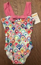 NWT Girls Gymboree Size 4T Colorful Rainbow Heart Swimsuit With Bow