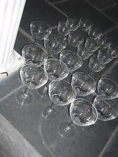"""LOT OF  22 VINTAGE  ETCHED  DAISY FLOWER STEMMED GLASSES 11 @ 5.75"""" & 11 @ 5"""""""
