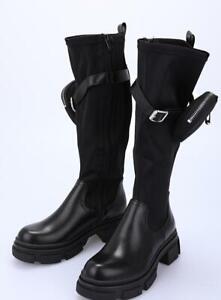 Military Boots Hohe Stiefeletten Damen mit Seitentasche schwarz 36-41