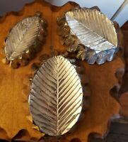 Vintage Tin Leaf Pattern Jell-O Mold Cake Baking Pans Wall Hanging, Set of 3