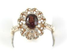 Fine Oval Red Spinel Ring w/Diamond Halo & Accents 1.98Ct 14k Rose Gold