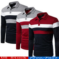 NEW Mens Casual Business  Shirts Long Sleeve Warm Cotton Striped Polo T Shirt