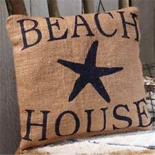 """Beach House and Starfish Stenciled Burlap Pillow 8"""" x 8"""" Sign"""