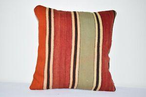 "Turkish Striped Kilim Cushion Cover, Handwoven Kilim Pillow, 16"" X 16"""