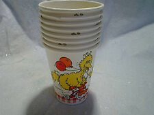 1981 8-Big Bird Muppets Paper Cups,sesame street,tricycle,ballons,d rawing board