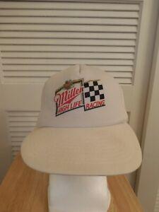 Vintage Miller High Life Racing Mesh Trucker Snapback Hat NASCAR